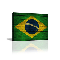 Funlife 3D HD Gedruckt Malerei Vintage Brasilien Flagge gerahmte Maple Leave Leinwand Drucken Kunst Wohnkultur Wandkunst Bilder WGBD043
