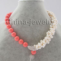 18 3row 7 8mm white freshwater pearl &12mm pink south sea Fashion girl jewelry shell pearl necklace
