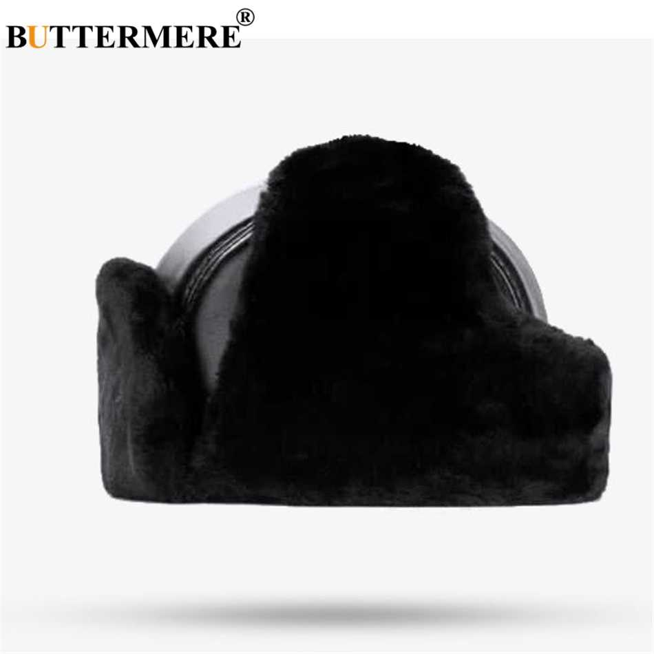726cf01a ... BUTTERMERE Sheepskin Russian Hat Ushanka Leather Bomber Hat BLack Thick  Outdoor Mens Winter Hats Ear Flaps ...