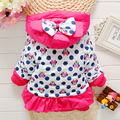Baby Girl Clothes Winter Cartoon Coat New Cute Children Clothing Polka Dot Hooded Jacket Kids Thicken Cotton Outerwear
