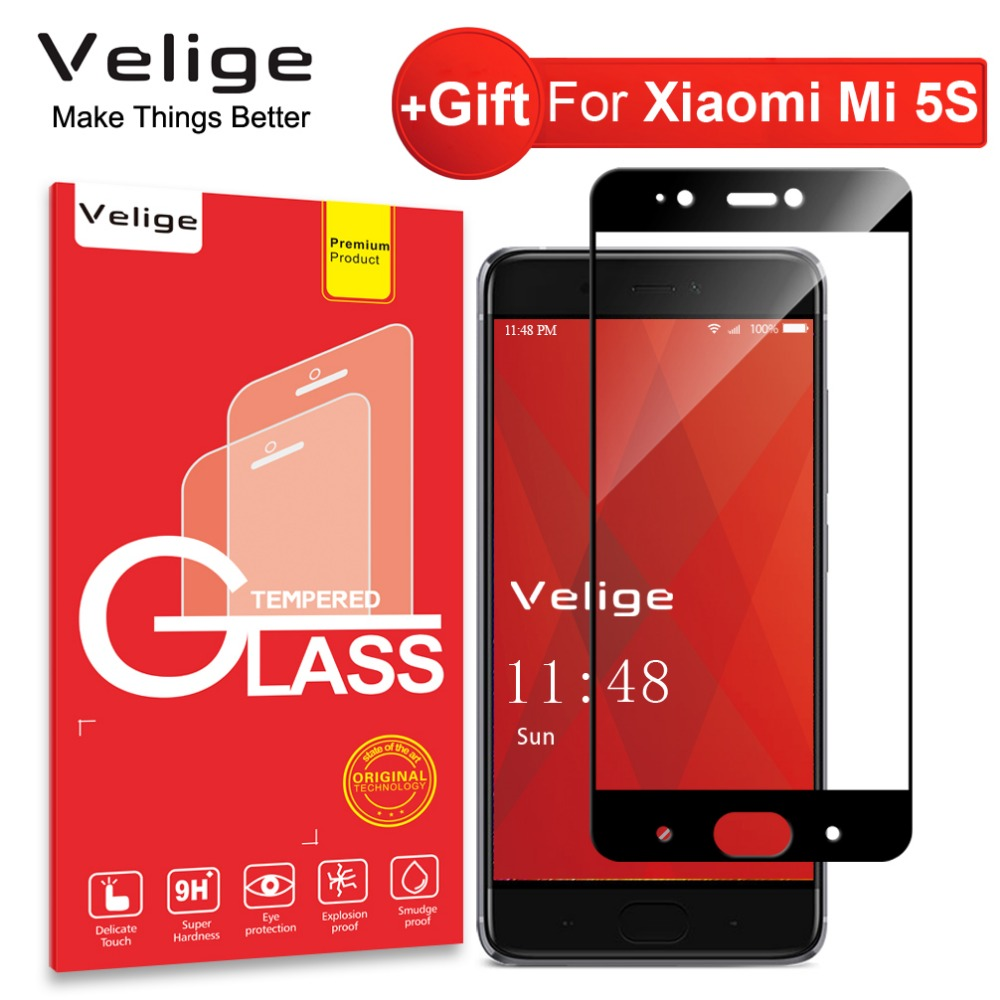Velige Full Cover Tempered Glass For Xiaomi Mi5S Mi 5S Xiaomi5S Pro Prime Screen Protector 9H Scratch Resistance Glass Film