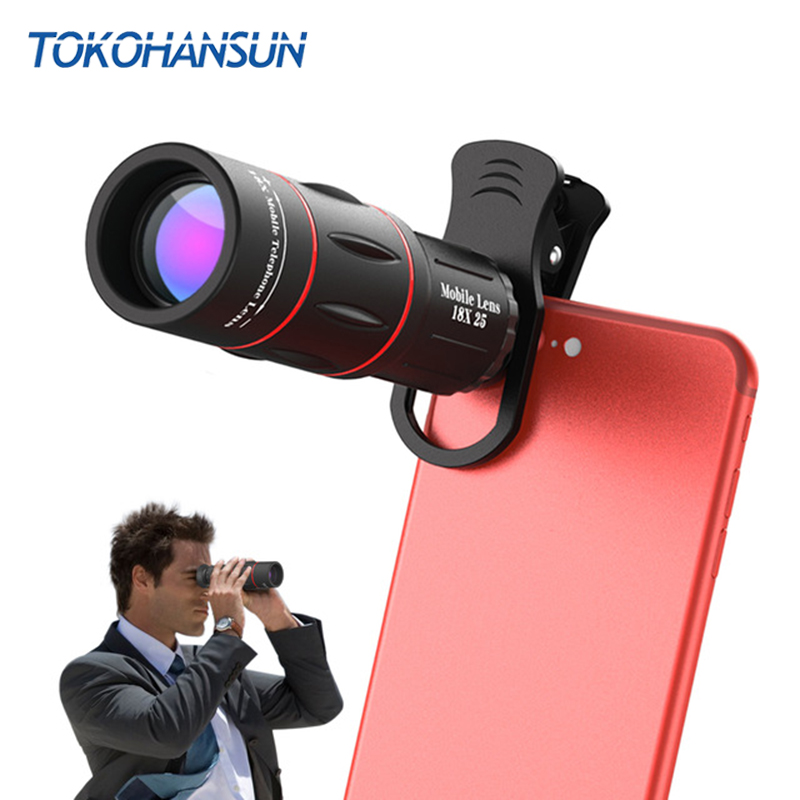 TOKOHANSUN 18X Telescope Zoom Mobile Phone Lens for iPhone Samsung Smartphones universal clip Telefon Camera Lenses with tripod