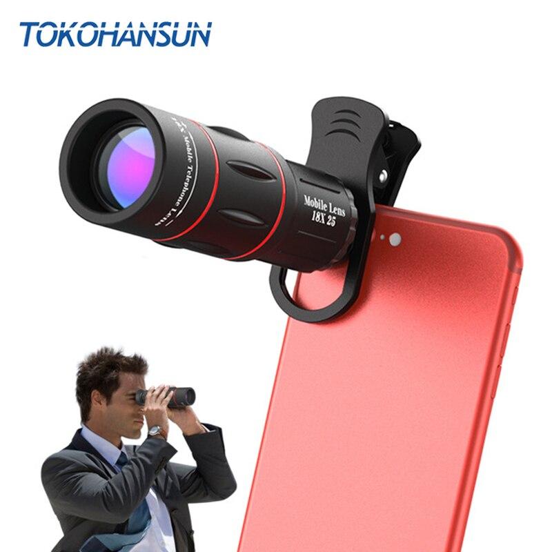 TOKOHANSUN 18X Teleskop Zoom Handy Objektiv für iPhone Samsung Smartphones universal clip Telefon Kamera Linsen mit stativ