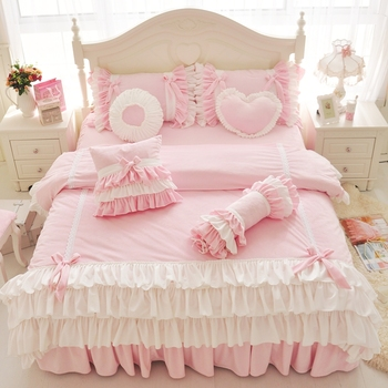Pink Purple Blue Korean Princess Girl Fleece Fabric Bedding Set White Ruffle Bow Duvet Cover Flannel Velvet Bed Skirt Pillowcase pink cherry strawberry printing fleece fabric girl bedding set flannel duvet cover bed sheet linen pillowcase crown big backrest