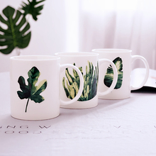 Green Plant Printed Ceramic Mugs