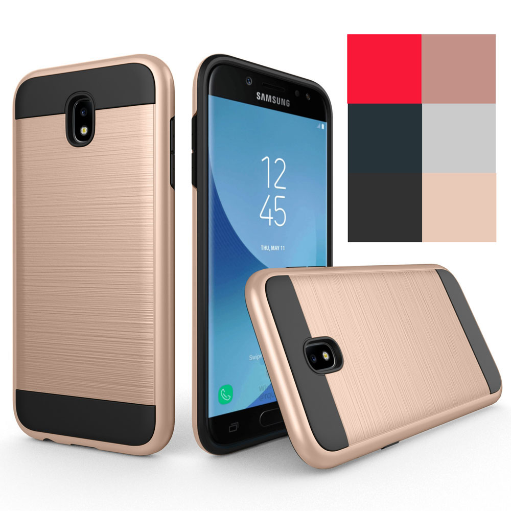 2in1 Brushed Armor Case Anti Shock Cover For Samsung Galaxy J3 2018/J3 Achieve/Eclipse 2/Orbit/Amp Prime 3/Sol 3/Express 3