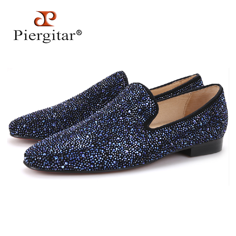 Piergitar 2017 men leather shoes with mixed colors rhinestones Prom and Banquet men casual loafers luxurious smoking slippers
