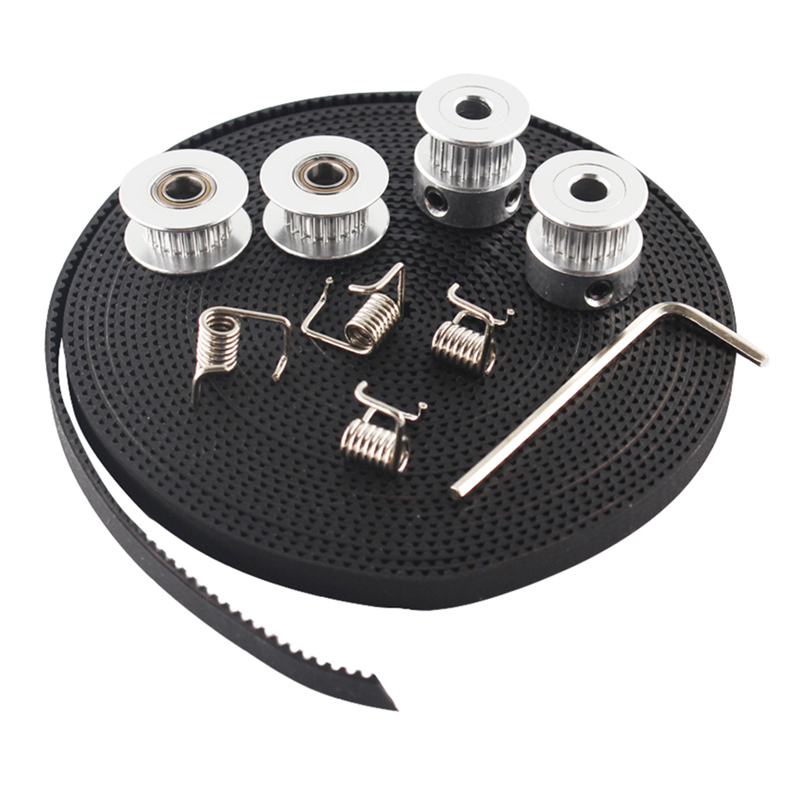 2X GT2 Pulley 20 Teeth Bore 5mm + GT2 6mm Timing Belt & 2X Idler 4X Tensioner For 3D Printer RepRap