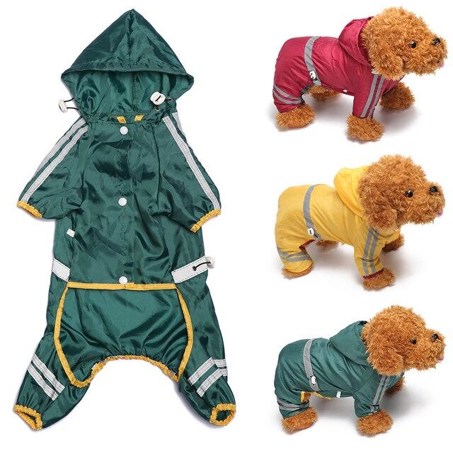 Удобная зеленая/желтая/красная собака плащ с капюшоном непромокаемый Дождевик куртка для домашних животных щенок уличная одежда Pet костюмы