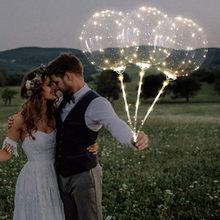 3 pçs reutilizável luminoso led balão transparente bolha redonda decoração festa de celebração do casamento decoração grande globo romântico