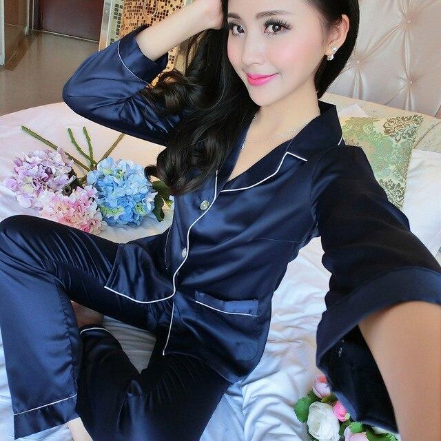 d24a866805ff 2019 Autumn Winter Long Sleeve Shirt Trousers Set Pajamas Sexy Satin  Sleepwear Silk Nightgown Women Nightdress Female Nightie