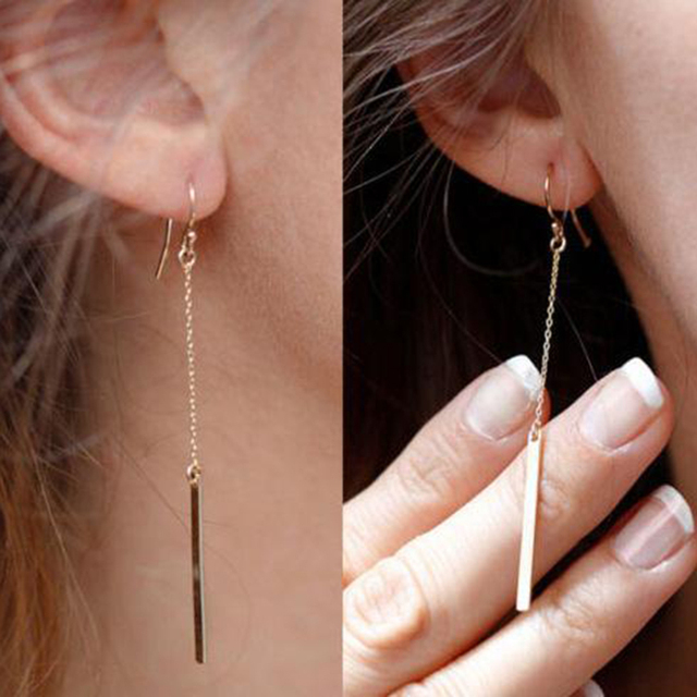 Low Price Whole Europe Simple Gold Color Punk Tels Long Chain Stick Bar Metal Dangle Earrings