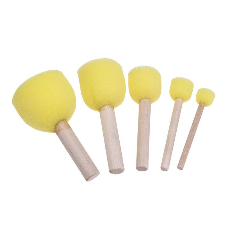 5Pcs//Set Sponge Paint Brushes Toys Wooden Handle Seal Sponge Brushes Kids C W4D8