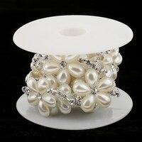Apparel Sewing 1yard Rhinestone Pearl Flower Beaded Ribbon Lace Trims For DIY Crafts Bag Wedding Dress