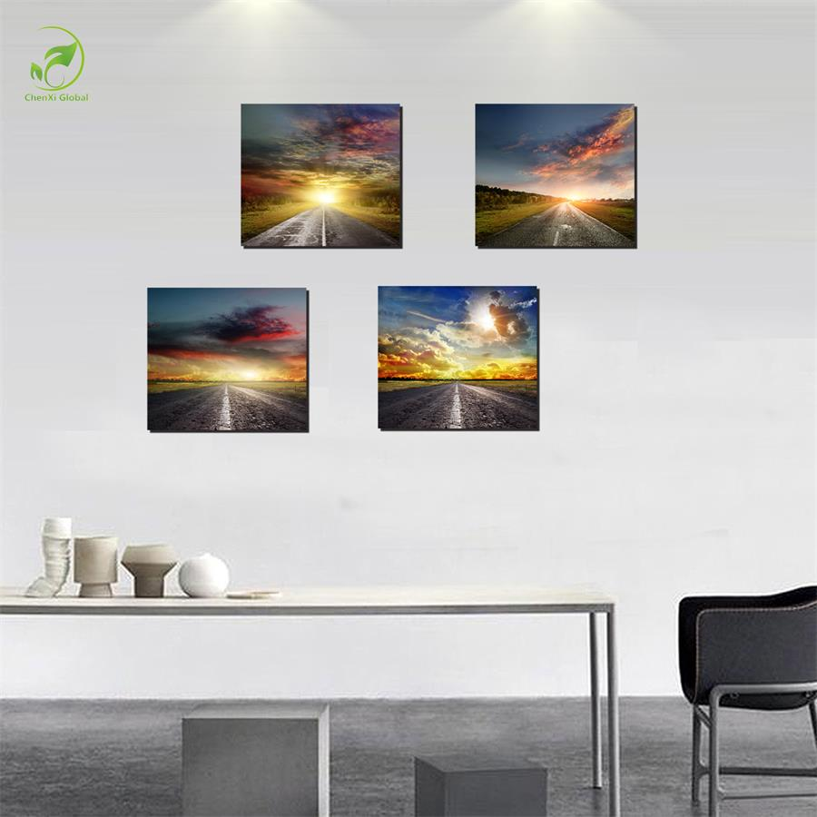 modern 4pcs melamine sponge board framed canvas oil painting sky pictures landscape home wall art for living room