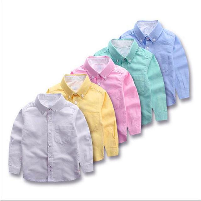 Más niños camisas de algodón lavada Oxford hilado niño camisa de manga larga ropa de Los Niños de Europa y el viento FMA3007