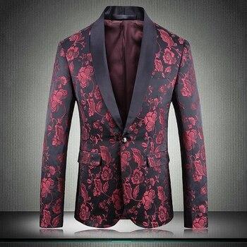 New Blazer Men Luxury Jacquard Single Breasted Prom Blazers Men Flower Blazer Men Plus Size 4xl Party Blazer Costume Singer Man