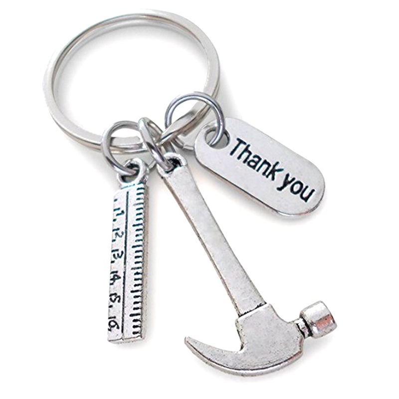 Fashion Work Tools Ruler Hammer Keychain Charm Keyring Father`s Day Gift Tag Metal Men Women Thank You Letter
