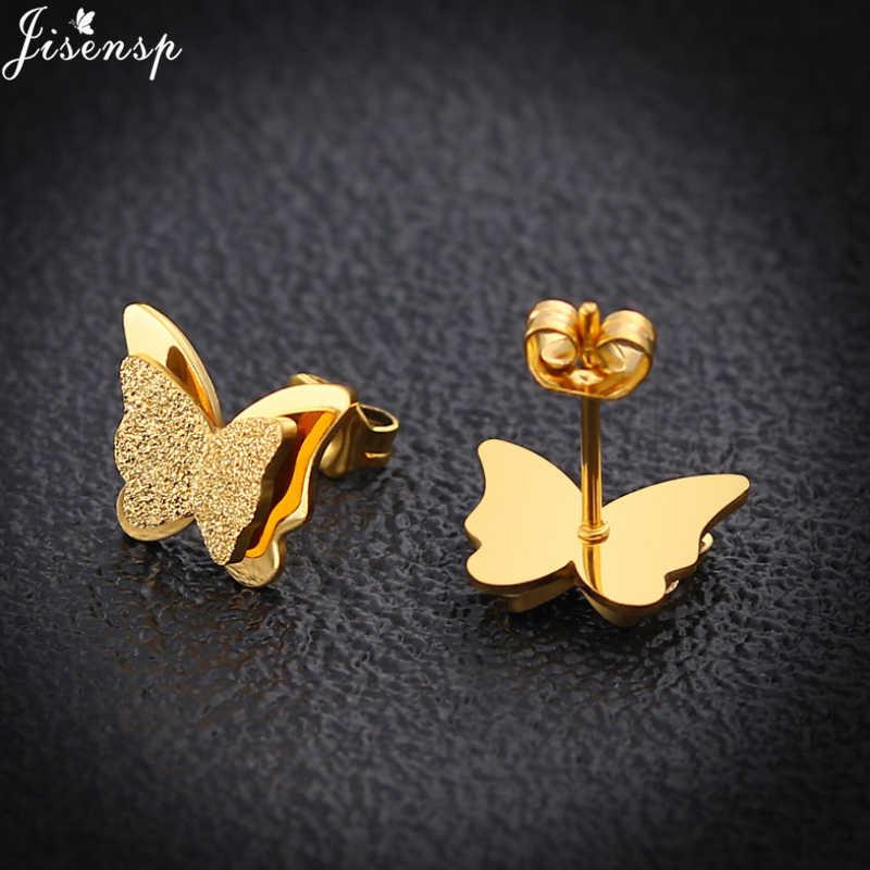 Jisensp Gold Butterfly Stud ต่างหูสร้อยคอชุดเครื่องประดับสำหรับสาวเด็กเครื่องประดับสแตนเลสเด็กของขวัญขายส่ง