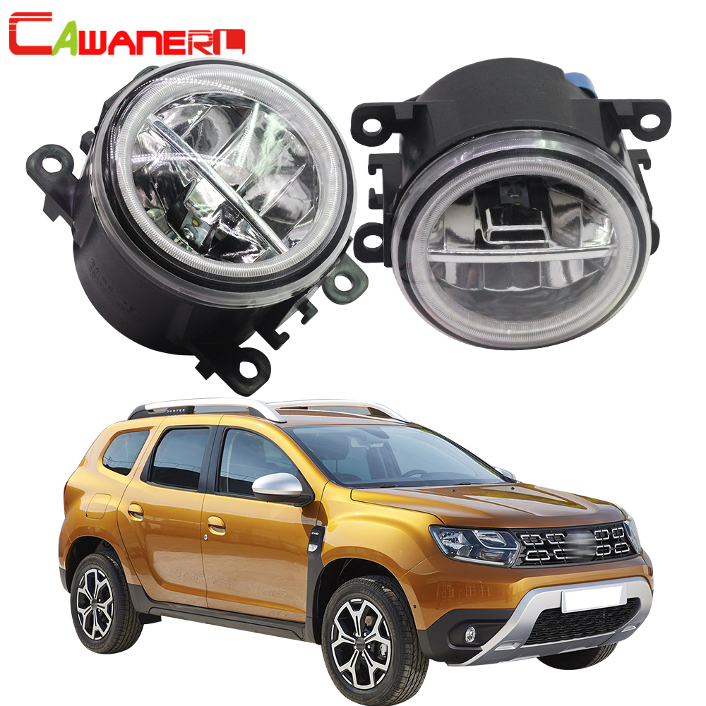 Cawanerl For 2012-2015 Renault Duster Closed Off-Road Vehicle Car LED Bulb Fog Light + Angel Eye Daytime Running Light DRL 12V аксессуар чехол для samsung galaxy note 8 x level guardian blue 2828 045