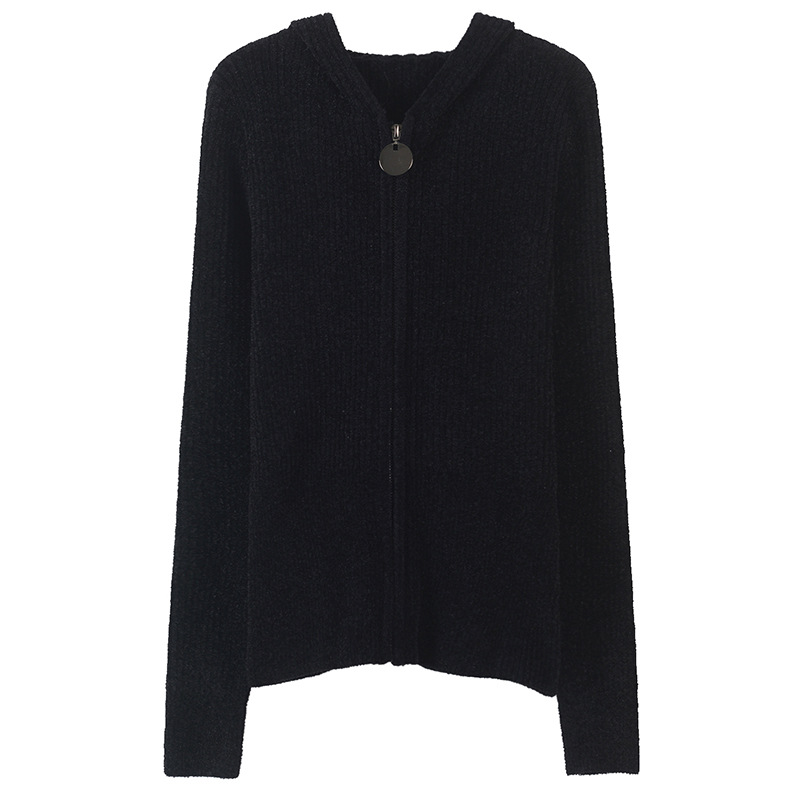 Slim Hooded Zippers Cardigan Femme Maxi Autumn Winter Black Shrug Women Cardigans Knit Sweater Coat Runway