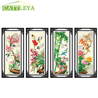 CATTLEYA 4 Pieces Special Shaped Diamond Embroidery Flowers 5d DIY Diamond Painting Cross Stitch Diamond Mosaic