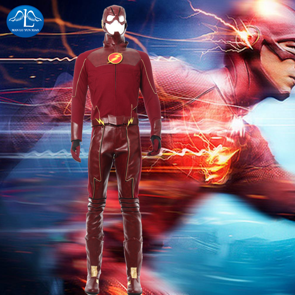 <font><b>The</b></font> <font><b>Flash</b></font> Season 4 Barry Allen <font><b>Flash</b></font> <font><b>Cosplay</b></font> Costume Carnival Halloween Costumes For Adult Men <font><b>Flash</b></font> Costume Red Uniform image