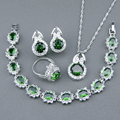 925 Sterling Silver Jewelry Sets For Women Green Created Emerald White Topaz Bracelets/Earrings/Pendant/Necklace/Rings Free Box