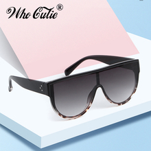 WHO CUTIE Vintage Oversized Flat Top Sunglasses Women 2019