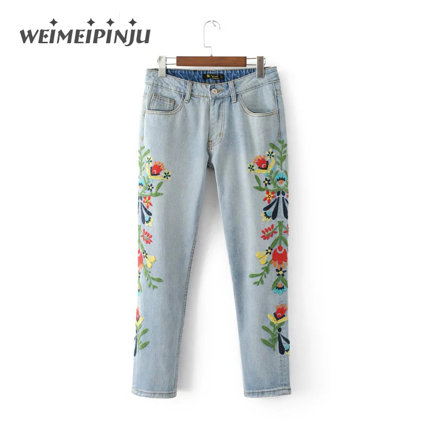 Summer Boyfriend Women's Ripped Jeans Fashion Embroidery Denim Cotton Female Pants Plus Size Destroyed Ladies Jeans Mujer womens ripped jeans with embroidery summer 2017 ladies straight cotton denim casual pants pantalones vaqueros mujer garemay 2610