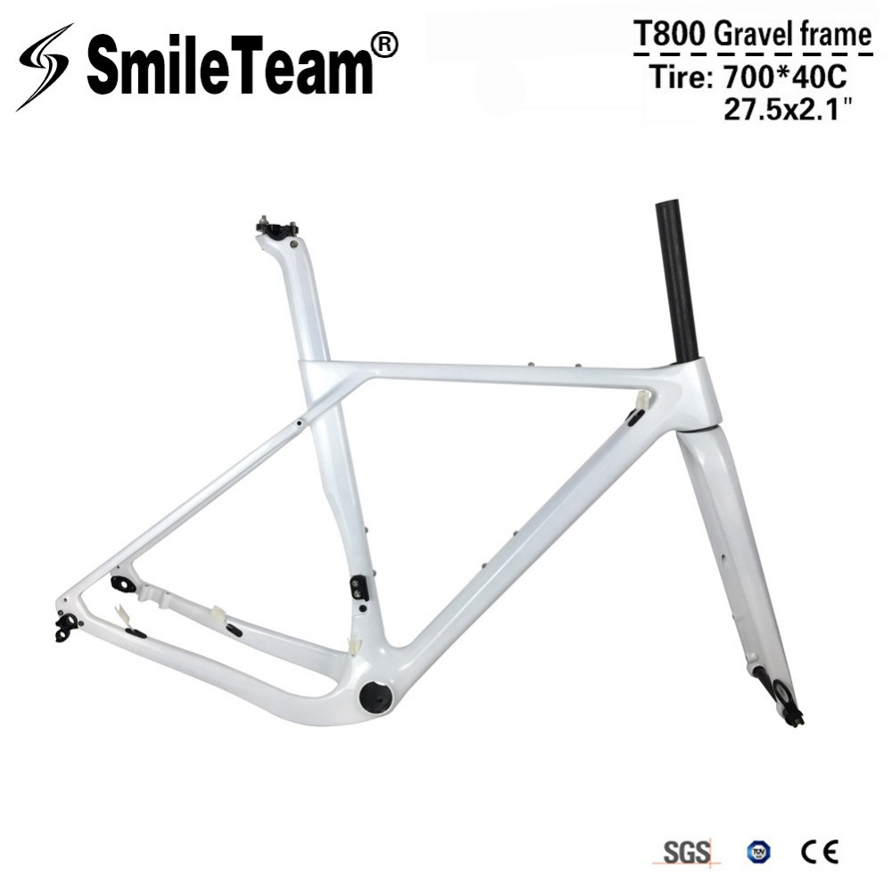 SmileTeam 2018 New Aero Full Carbon Gravel Frame Disc Brake Road Cyclocross Bike Frames 142*12mm Thru Axle MTB Bicycle Feameset seraph 2018 carbon fiber cyclocross bike carbon cyclocross frame 142 12mm rear thru axle fm286 carbon frame 56 color paint