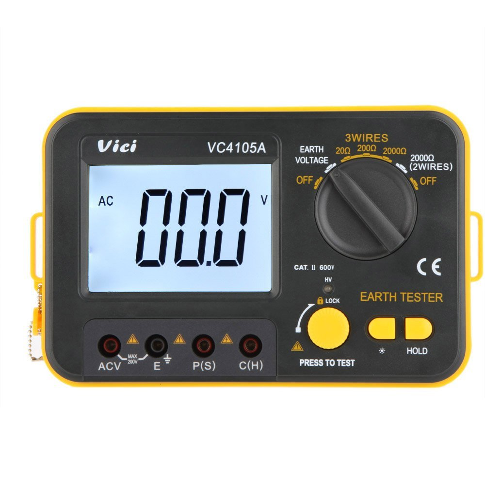 VC4105A VICI Digital Earth Ground Resistance Tester Earth Voltmeter Ohmmeter 2K 200V w/ LCD With Backlight a spirited resistance