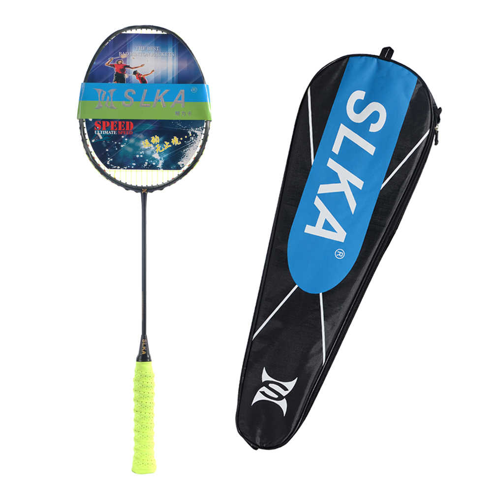 Ultra Light 5U 77g Curve Shape Badminton Racket Offensive Carbon Badminton Racquet Max 32LBS with String Bag