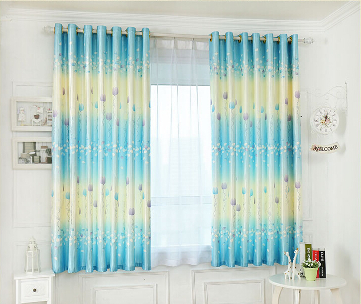 Attractive Sky Blue High Quality Curtains Finished / Fit Girl Bedroom Curtains(China  (Mainland