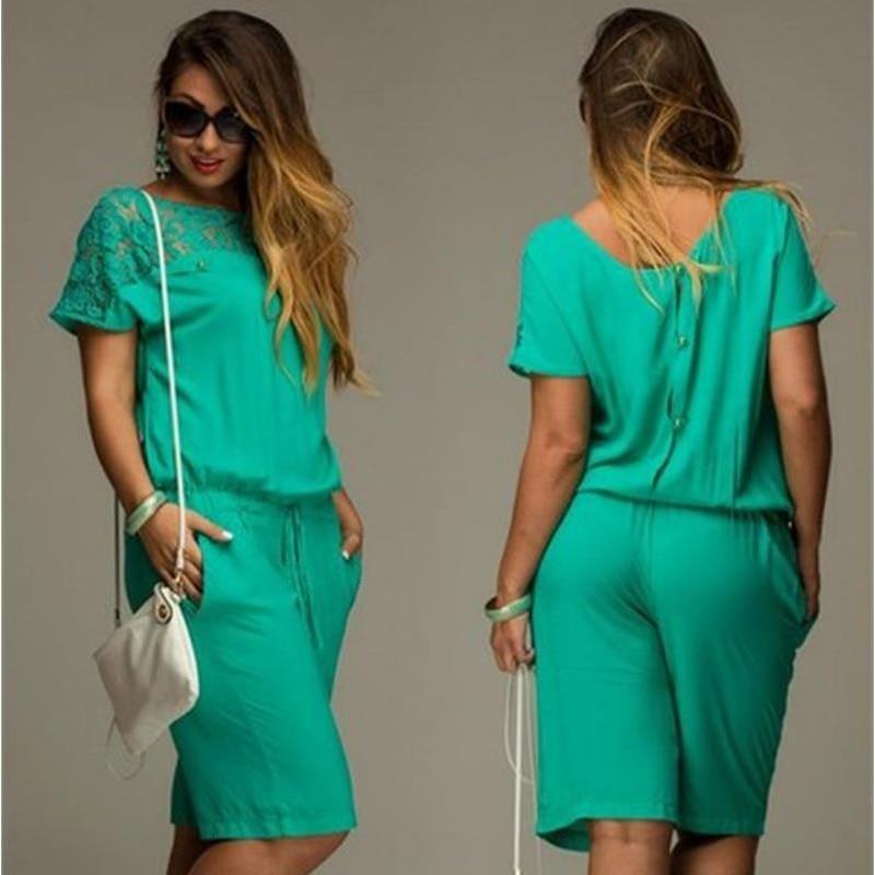 Short Sleeve Lace Plus Size Knee-Length Jumpsuit 2