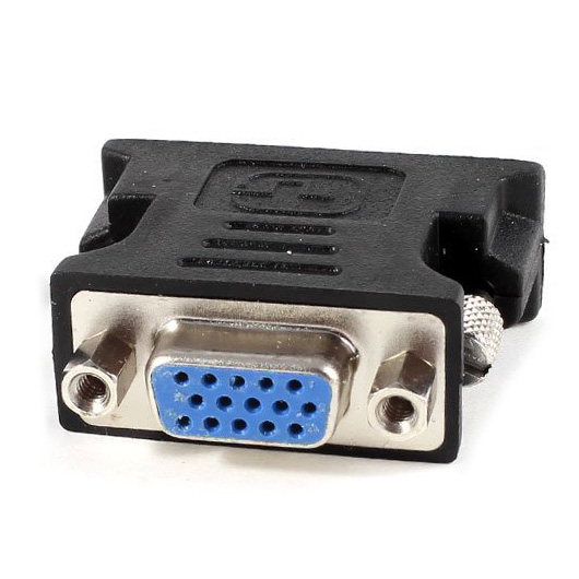 CAA-2 Pcs DVI-I 24+5 Pin Male Analog to VGA 15 Pin Female Adapter Black