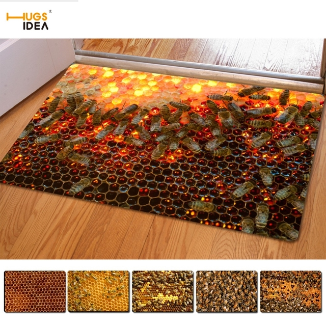 HUGSIDEA Home Decorative Funny 3D Honeycomb Print Door Carpets Hotel Living Room/Bedroom Floor Mat & HUGSIDEA Home Decorative Funny 3D Honeycomb Print Door Carpets Hotel ...