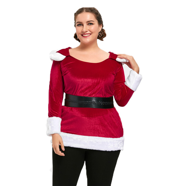 eaa1625ab80 Kenancy 5XL Christmas Plus Size Two Tone Hoodie Women Long Sleeve Red  Hooded Long Section Christmas Pullovers Hoodie