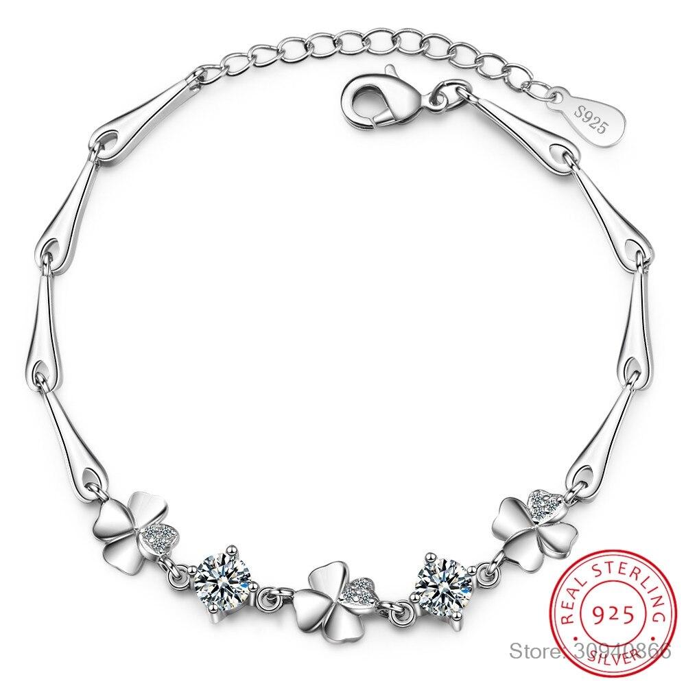 925 Sterling Silver Bracelet For Women Lucky Cute Sweet Student Female Four-Leaf Clover Bracelets Girlfriend Valentines Day Gift