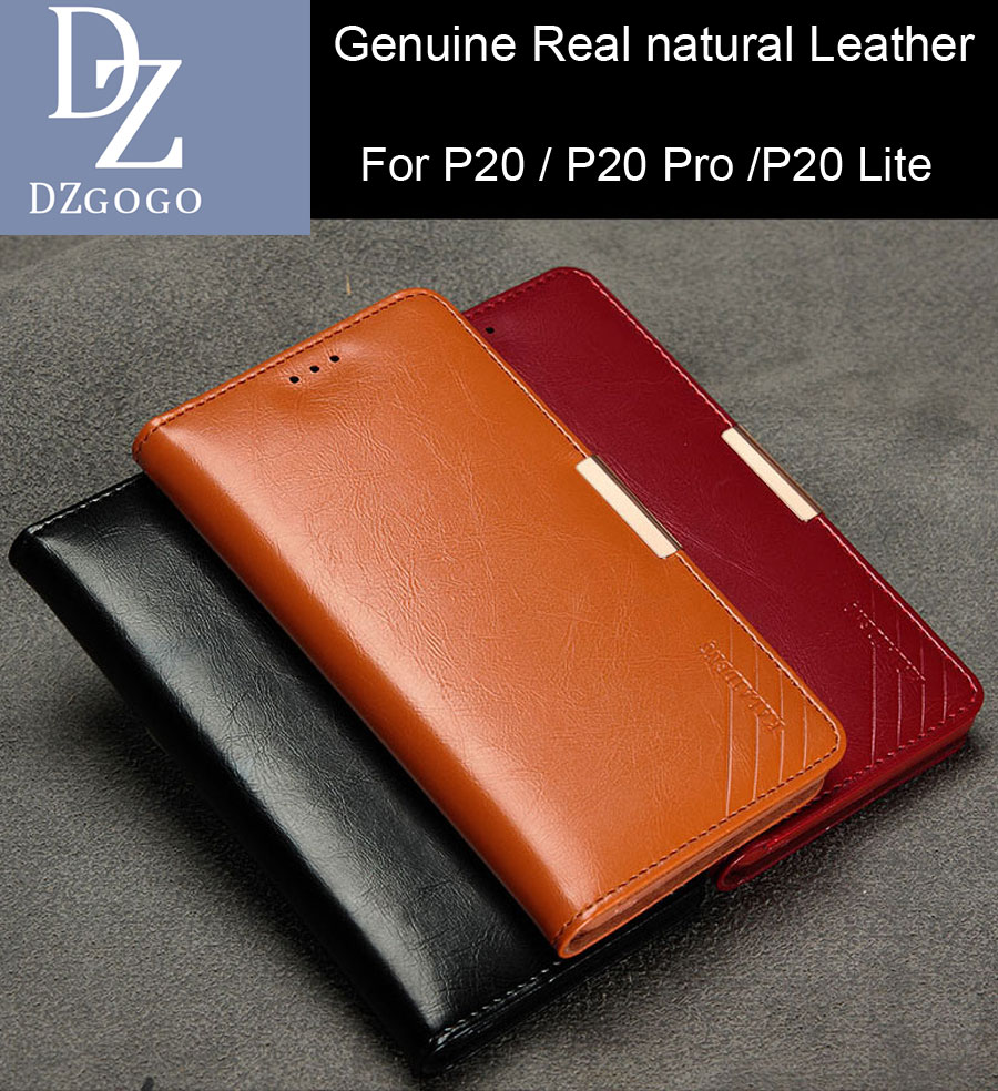DZGOGO Real Genuine natural Cow Leather Case For Huawei P20 Pro P20 Lite Magnetic Deluxe Luxury Wallet Bag Cover Nova 3E