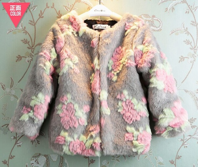 2015 New Arrival Fashion fur  Corduroy Full Floral Unisex Regular O-neck Regular Wool &amp  Blends Girls Wool Coat