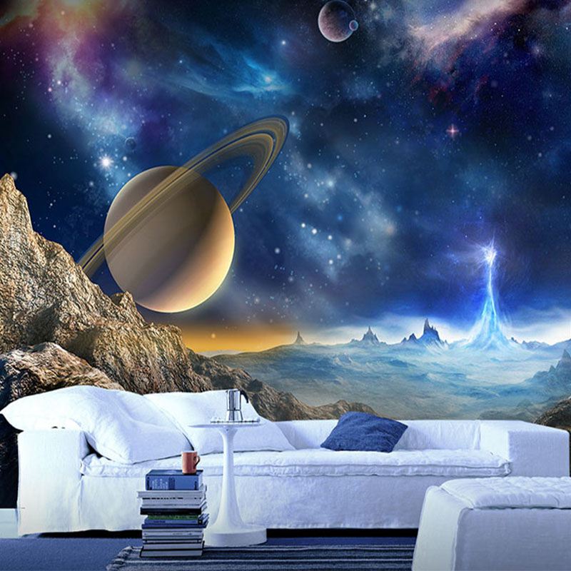 Personalized Customization 3D Stereo Cosmic Planet Mural Wallpaper Cartoon Kids Bedroom Cafe Bar Backdrop Wall Decor Wall Papers