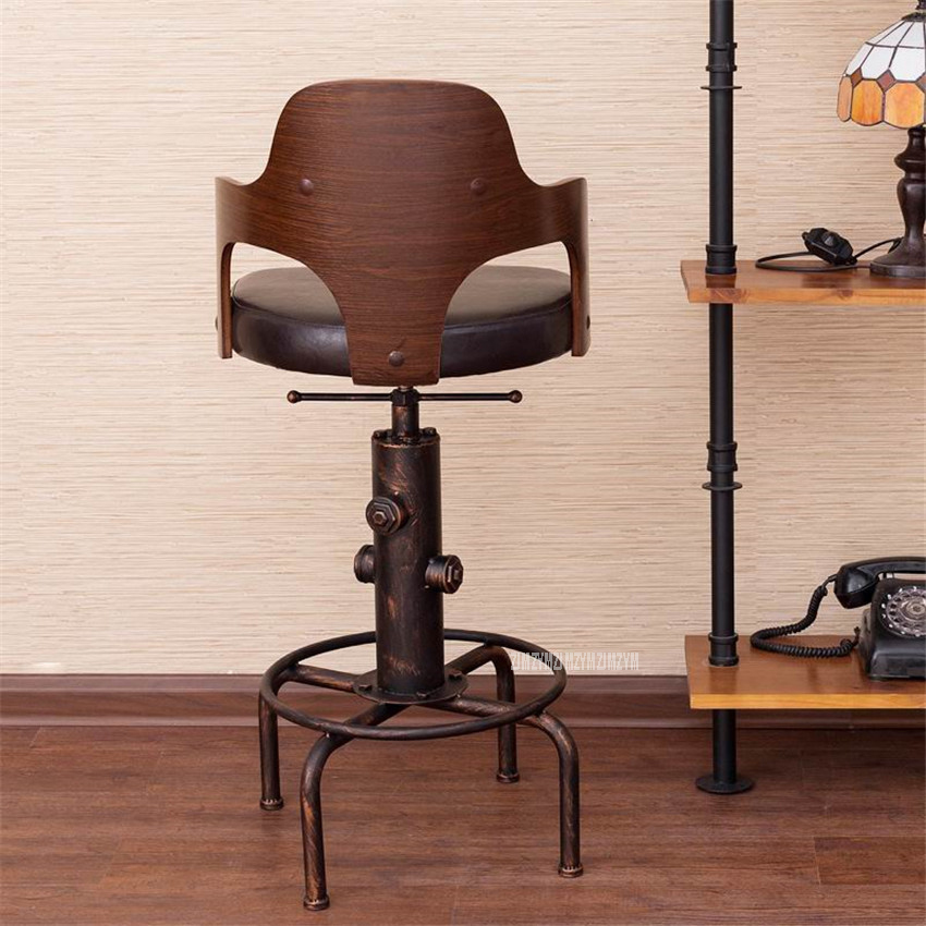 Купить с кэшбэком Europe Retro Style Height Adjustable Bar Chair With Footrest Wood Backrest Swivel Bar Stool Counter Coffee Pub Chair Barstool