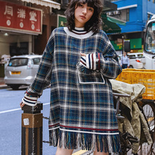Fashion Hem Tassel Design Wool Hoodie Women Spring Plaid Long Sweatshirt 2019 New Arrival Streetwear Womens Oversized