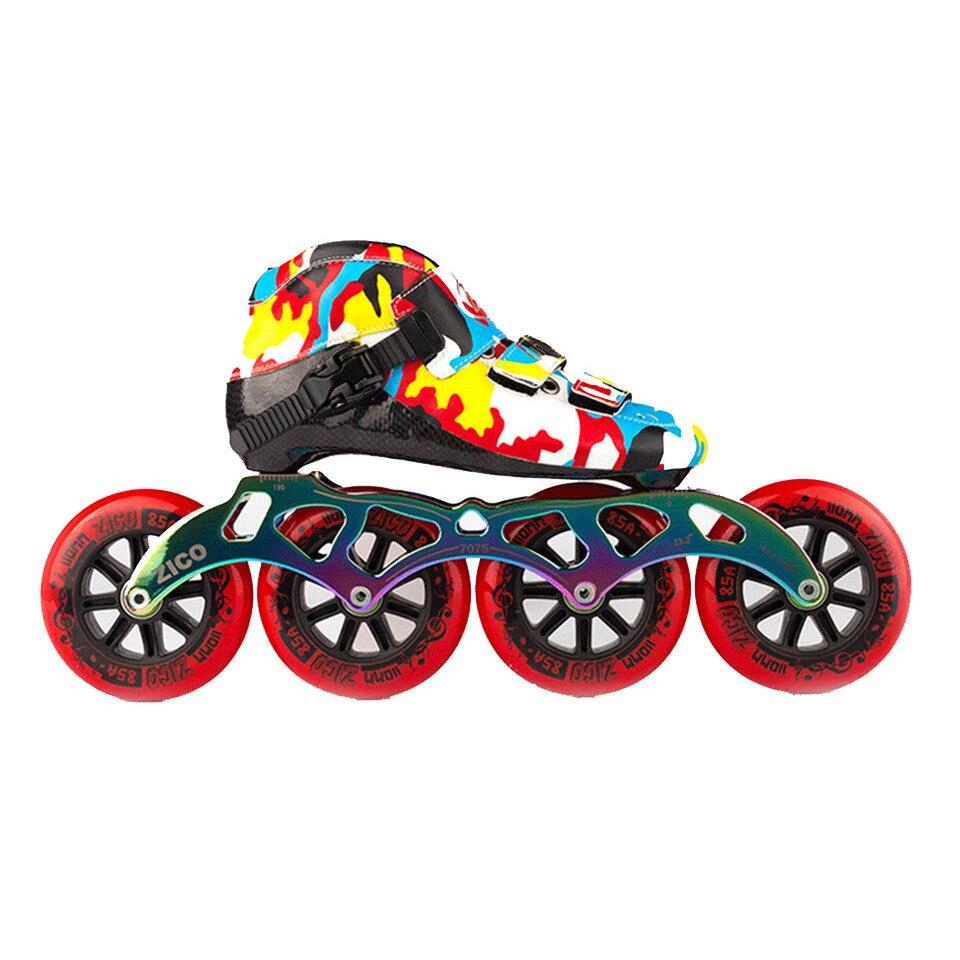 JEERKOOL Camouflage vitesse patins à roues alignées fibre de carbone compétition professionnelle 4 roues course patinage Patines similaires Powerslide