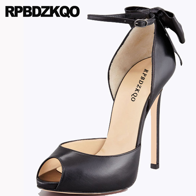 Sandals Bow Peep Toe High Heels Plus