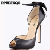 Sandals Bow Peep Toe High Heels Plus Size 13 45 Shoes Fetish Scarpin 12cm 5 Inch 12 44 Ankle Strap Black Extreme Ladies Pumps