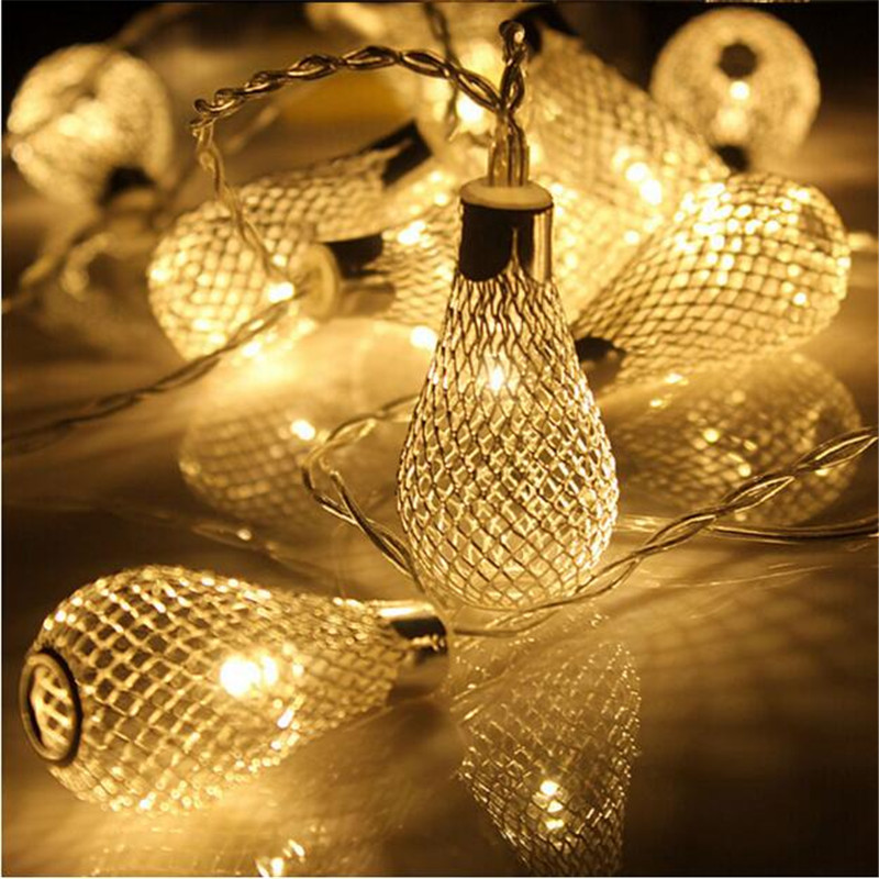 LED String Light 10LED Lamp Iron Water Drop Lantern Ball Fairy String Rope For Home Party Decoration Christmas Tree
