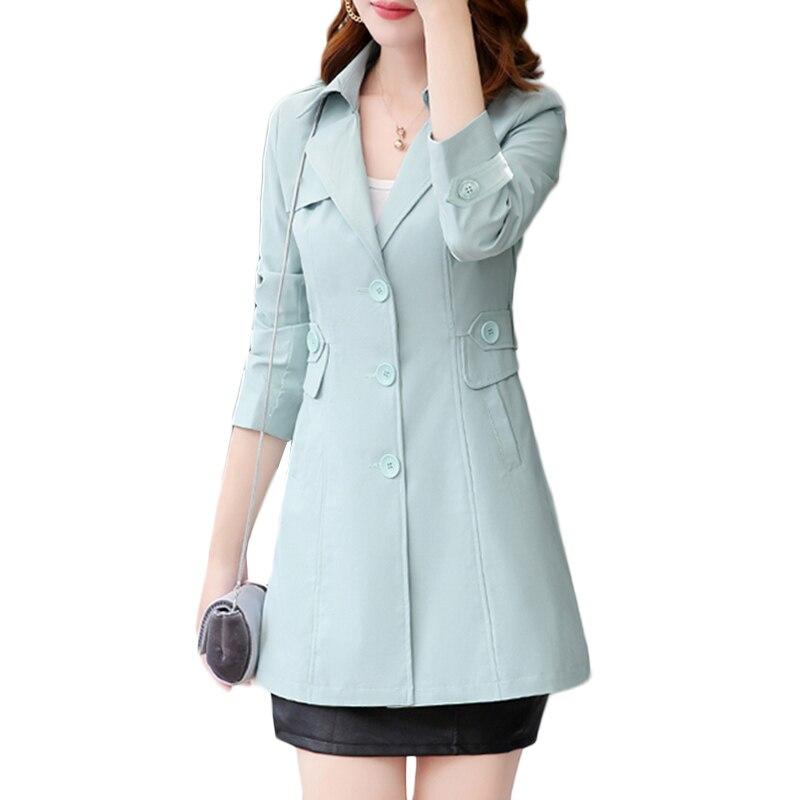 Spring Autumn Plus size Windbreaker Coat Women Korean Elegant Slim   Trench   coat Women's Casual Long-sleeved Button Overcoat a324