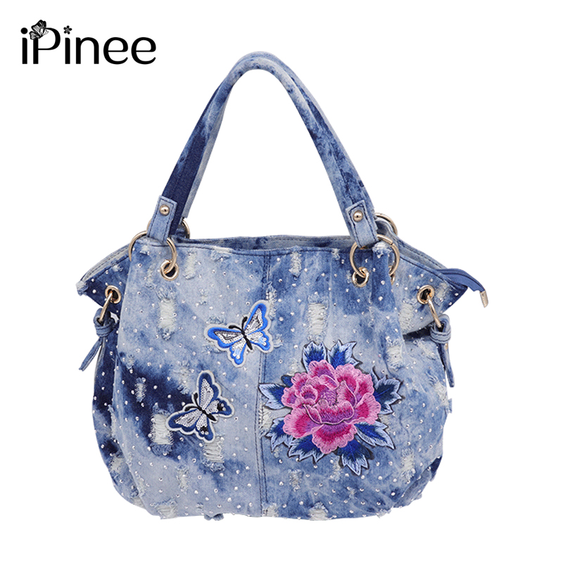 IPinee Shoulder Bag Flower Embroidery Women Designer Handbag High Quality Female Hobo Bag Tote Washed Denim Large Crossbody Bags
